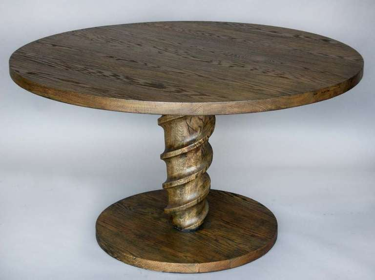 custom oak wood round screw pedestal dining or center table for sale