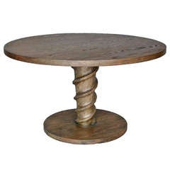 Custom Oak Wood Round Screw Pedestal Dining or Centre Table by Dos Gallos