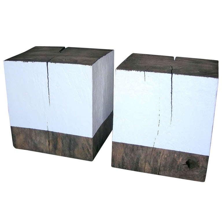 Wood Cube Tables Stools At 1stdibs