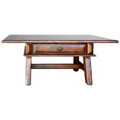 Walnut Coffee Table with Drawer by Dos Gallos Studio
