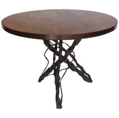 Dos Gallos Custom Walnut Wood Side Table with Custom Hand-Forged Vine Base
