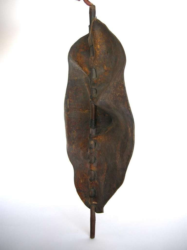 Tribal Sculptural Maasai Leather Shield For Sale
