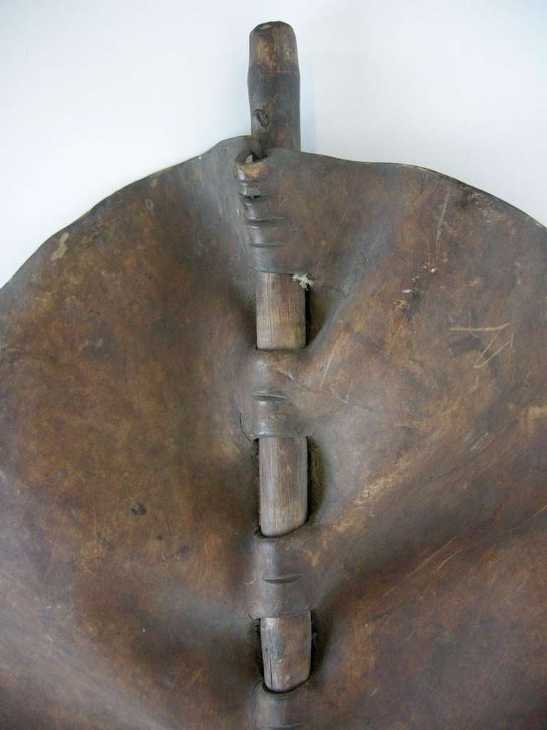 Sculptural Maasai Leather Shield