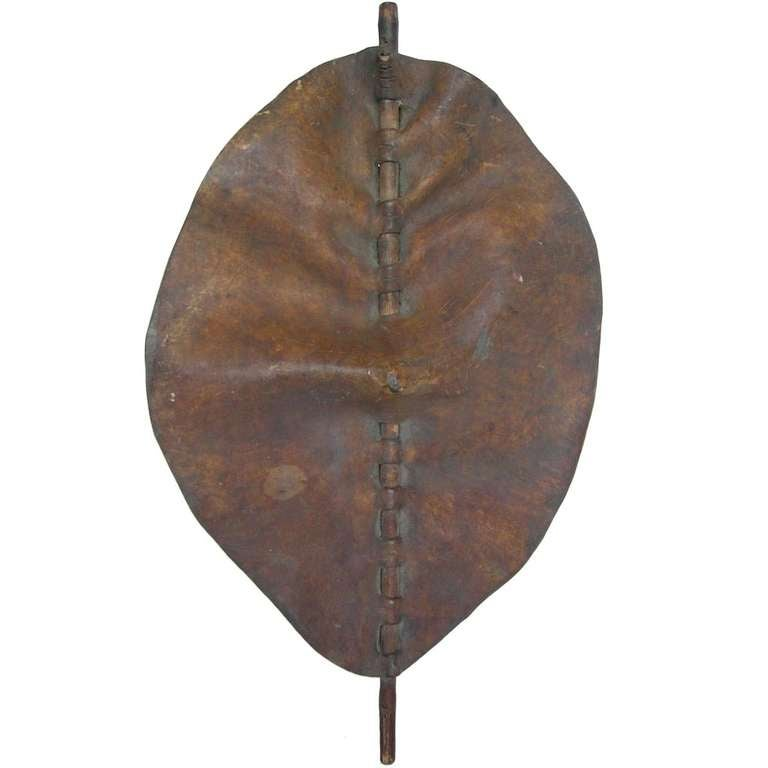 Sculptural Maasai Leather Shield For Sale