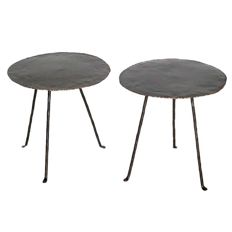 Dos Gallos Custom Round Tripod Side Tables