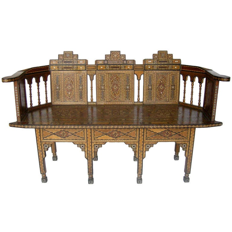 A Syrian Mother Of Pearl Bench Available To Purchase At: Levantine Syrian Inlay/Parquetry Bench For Sale At 1stdibs