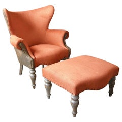 Custom Lamb's Leather Club Chair and Ottoman
