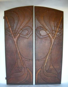 Pair of French Art Nouveau Antique Leather Doors