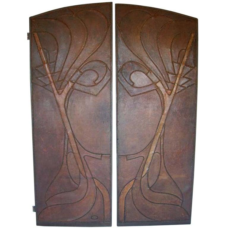 Pair of Art Nouveau Antique Leather doors