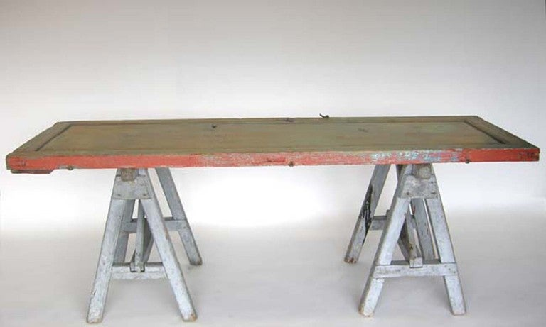 Antique Door And Saw Horse Table 2