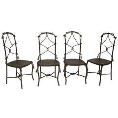 Antique French Cast Iron Garden Cafe Chairs