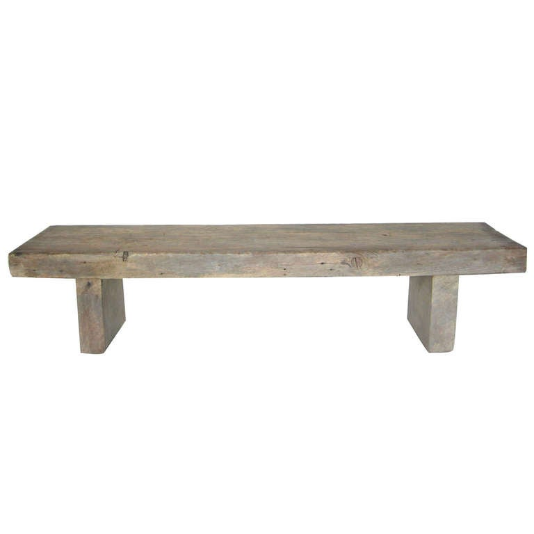 Custom Reclaimed Wood Bench In Driftwood Finish By Dos Gallos Studio For Sale At 1stdibs