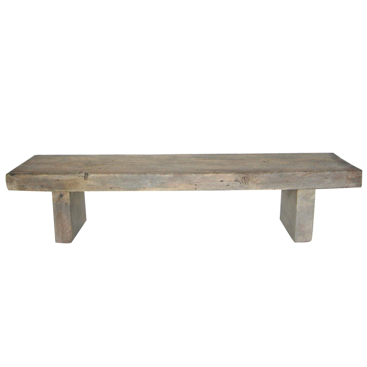 Custom Reclaimed Wood Bench in Driftwood Finish by Dos Gallos Studio