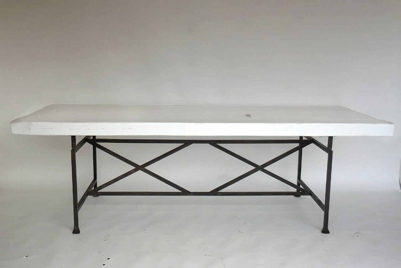 Reclaimed Wood X Dining Table With Hand Forged Iron Base  : 48163DIBSl from www.1stdibs.com size 1280 x 854 jpeg 51kB