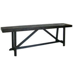 Thick Top Rustic Reclaimed Wood Console with Upside Down V by Dos Gallos Studio