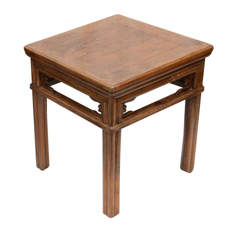 Late 19th Century Qing Dynasty Carved Southern Elm Stool
