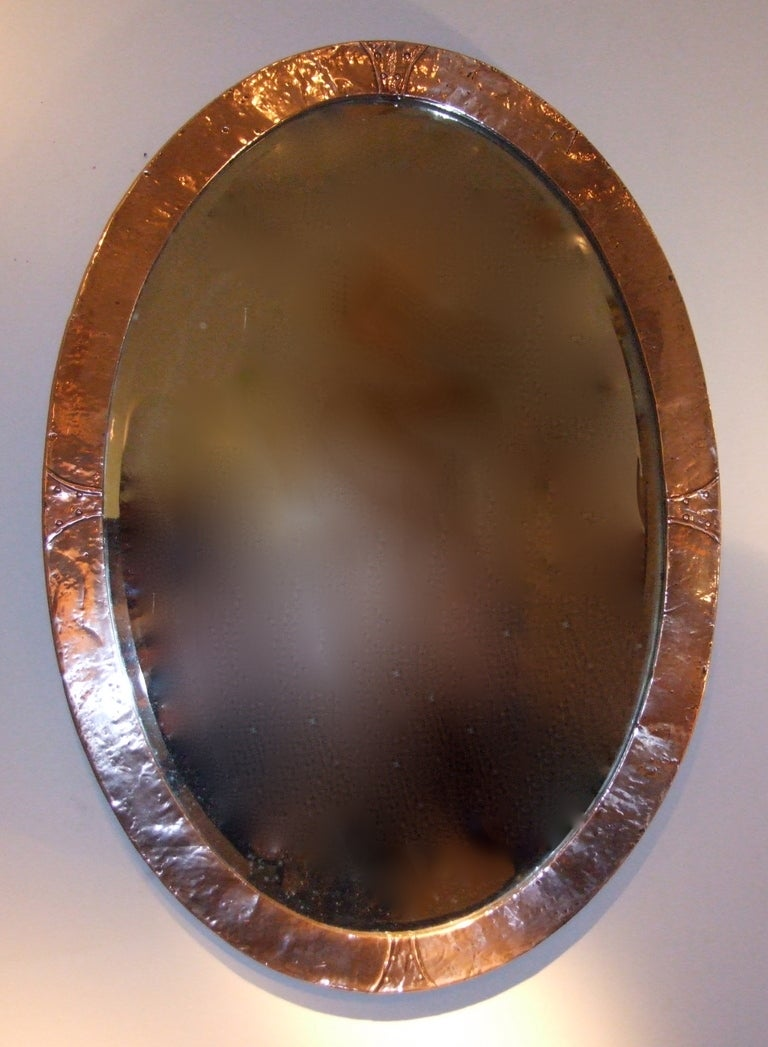 English Arts And Crafts Hammered Copper Oval Mirror At 1stdibs