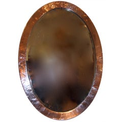 English Arts and Crafts Hammered Copper Oval Mirror