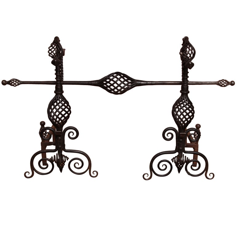 Pair of Arts and Crafts Wrought Iron Andirons For Sale