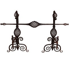 Pair of Arts and Crafts Wrought Iron Andirons