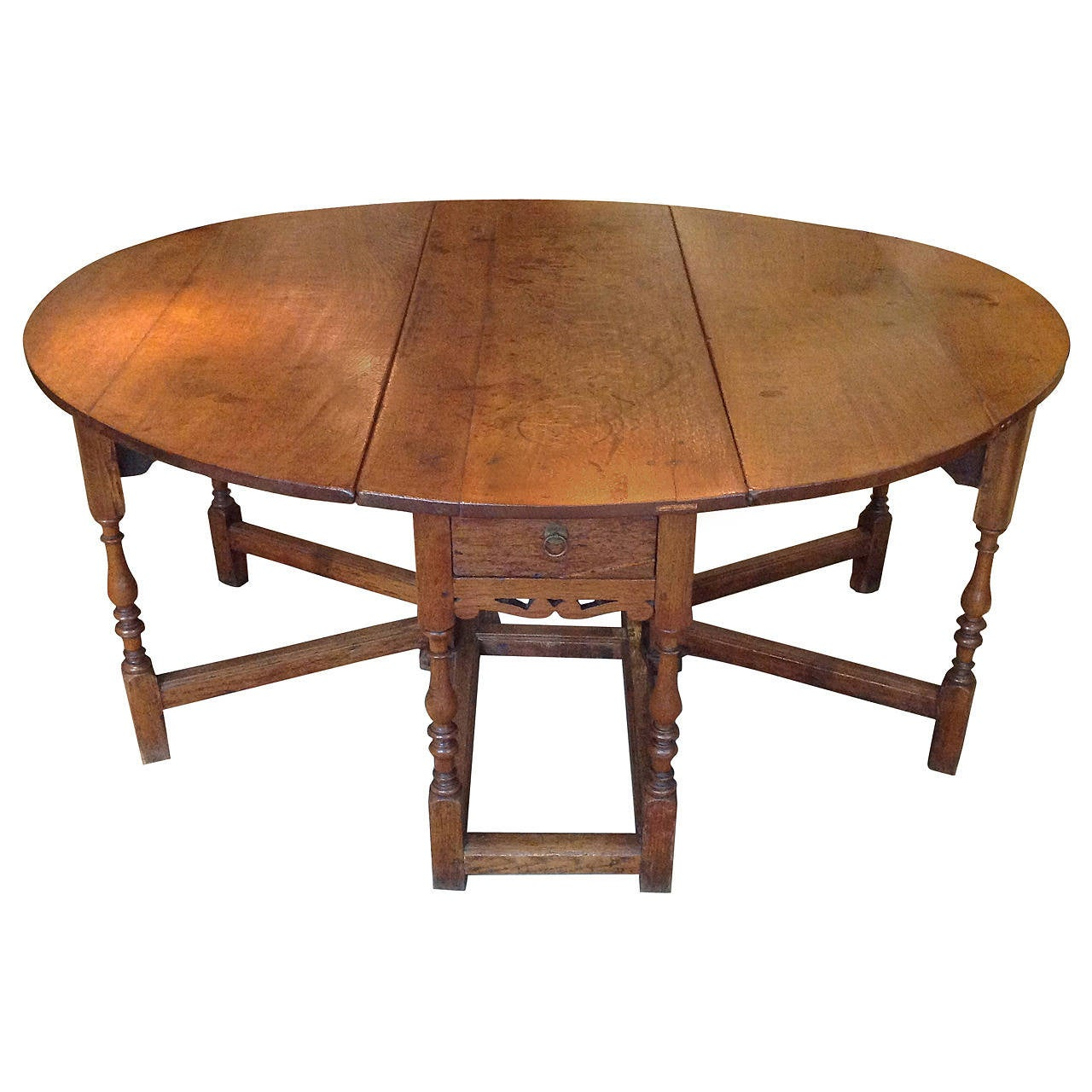 17th Century English Double Gate Leg Table For Sale