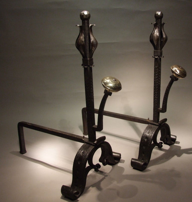 A Pair of Large and Substantial Wrought Iron Tulip Andirons For Sale