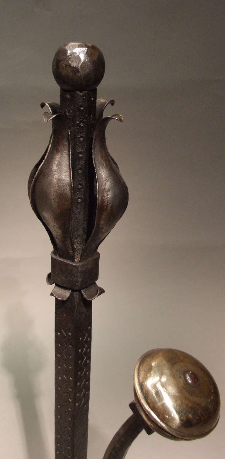 British A Pair of Large and Substantial Wrought Iron Tulip Andirons For Sale