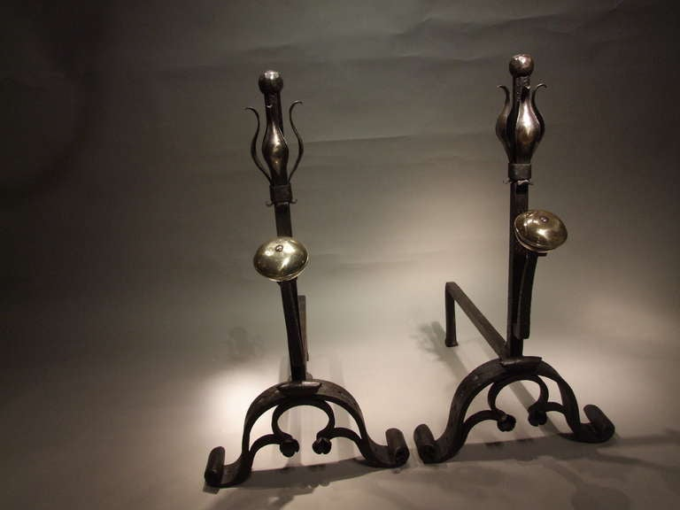 A Pair of Large and Substantial Wrought Iron Tulip Andirons In Excellent Condition For Sale In New York, NY