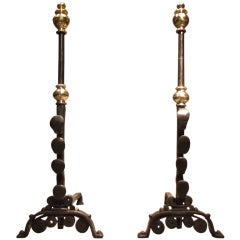 A Pair of Elegant 17th c. Wrought Iron and Brass Andirons