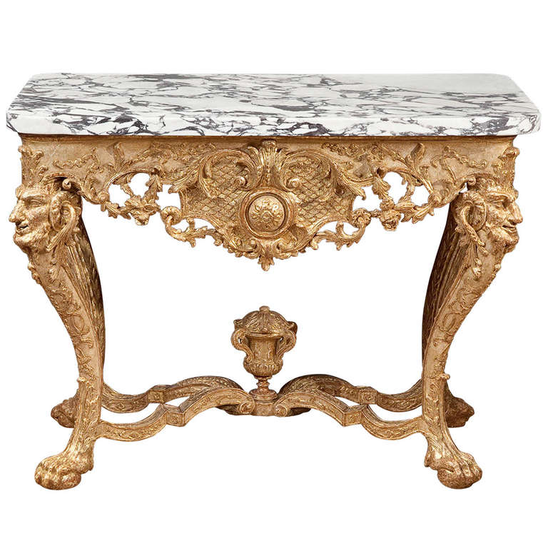 Northern European Baroque Giltwood Console Table For Sale at 1stdibs -> Table Basse Transparente Baroque