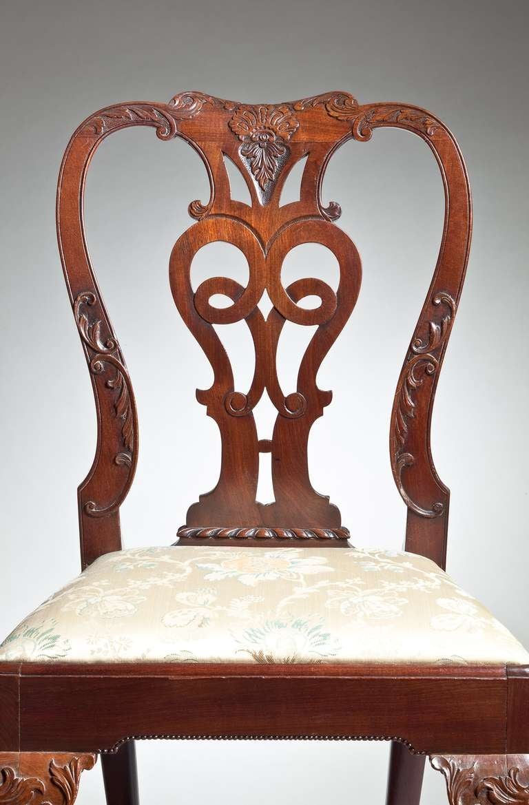 Superb Set of Eight George II Dining Chairs In Excellent Condition For Sale In New York, NY