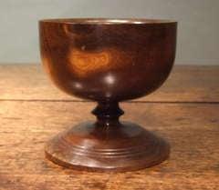 Scottish 18th Century Turned Laburnum Treenware Footed Salt