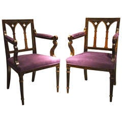 Pair of Gothic Painted Armchairs