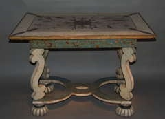 Late 17th Century Painted and Metal Inlaid Table