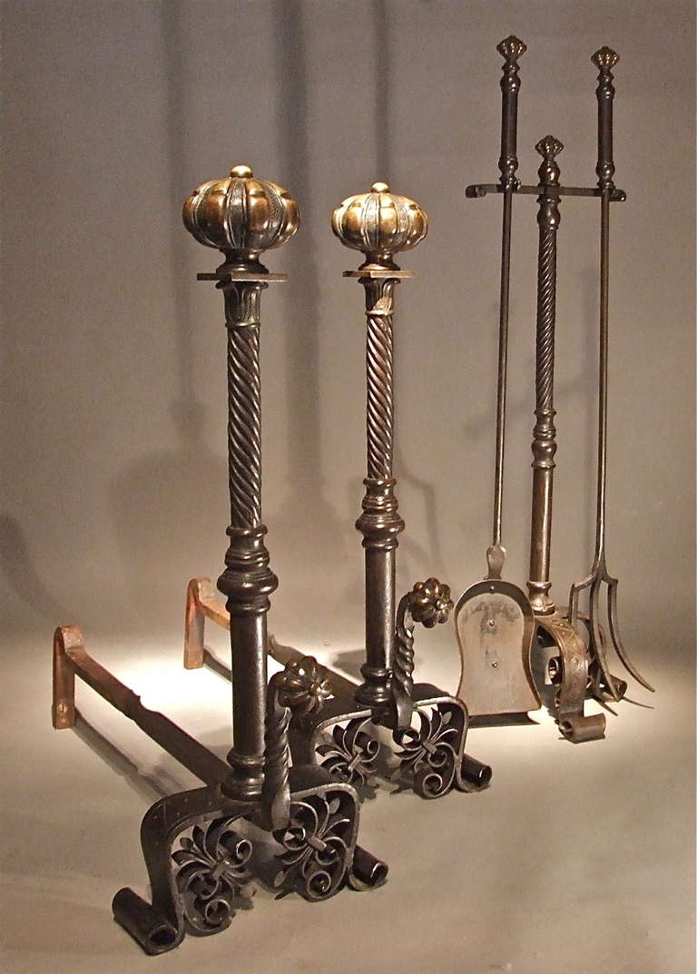 Bold set of arts and crafts andirons and fire tools at 1stdibs for Arts and crafts tools