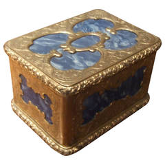 19th Century Gilt Brass and Lapis Lazuli Box