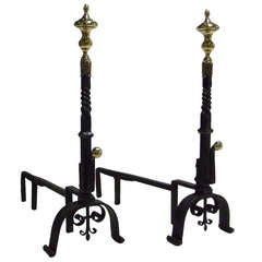 Impressive Pair of 18th Century Brass and Iron Andirons