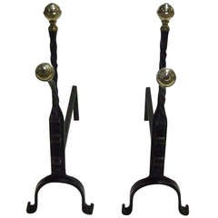 Charming Pair of Brass and Wrought Iron Andirons