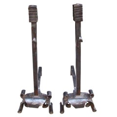 Bold Pair of Wrought Iron Andirons