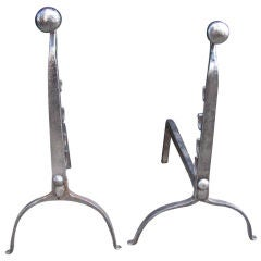 Polished Steel Button Head Andirons