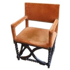 Late 17th c  Walnut Bobbin Turned Hall Chair