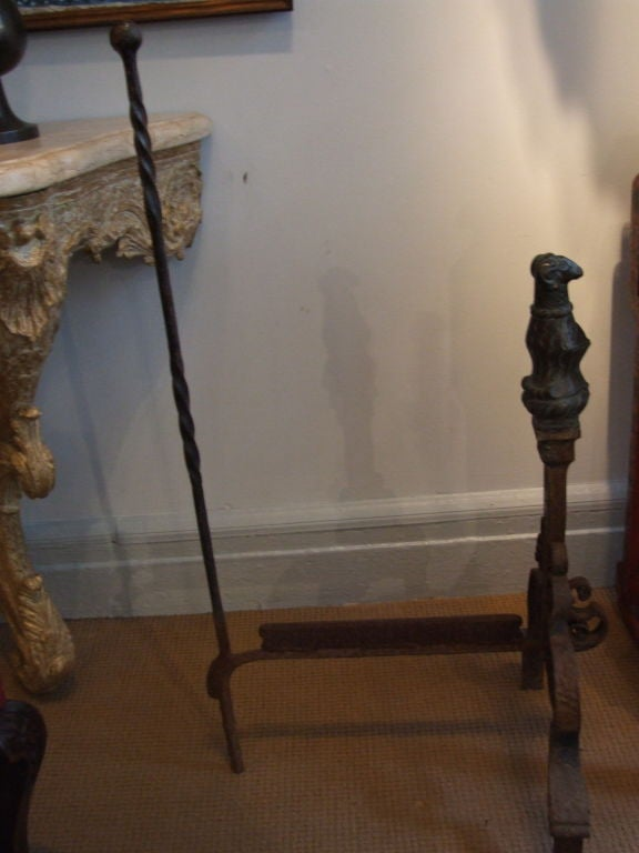 Folk Art Iron Boot Scraper with Ram's Head Finial For Sale