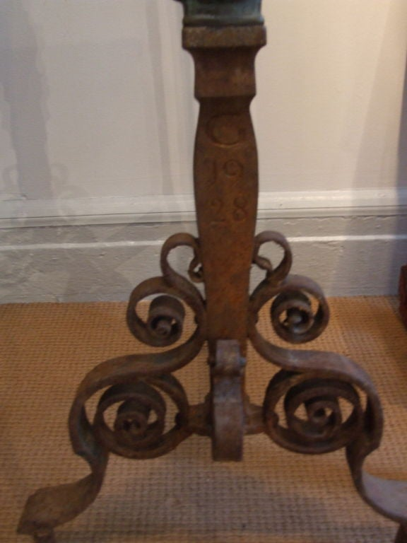 20th Century Iron Boot Scraper with Ram's Head Finial For Sale