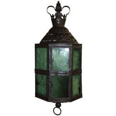 19th Century Patinated Brass and Green Glass Lantern