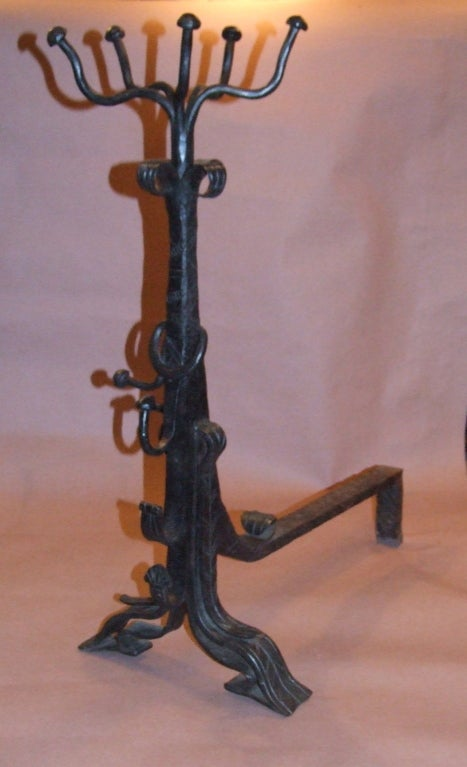 Impressive Pair of Arts and Crafts Wrought Iron Andirons For Sale 1