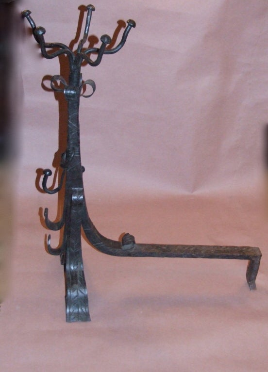 Impressive Pair of Arts and Crafts Wrought Iron Andirons For Sale 2