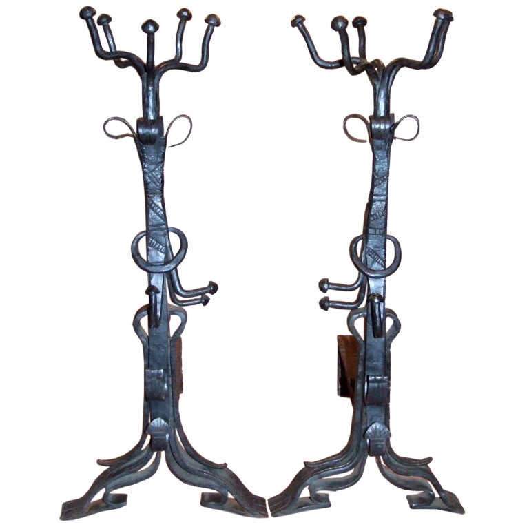Impressive Pair of Arts and Crafts Wrought Iron Andirons For Sale