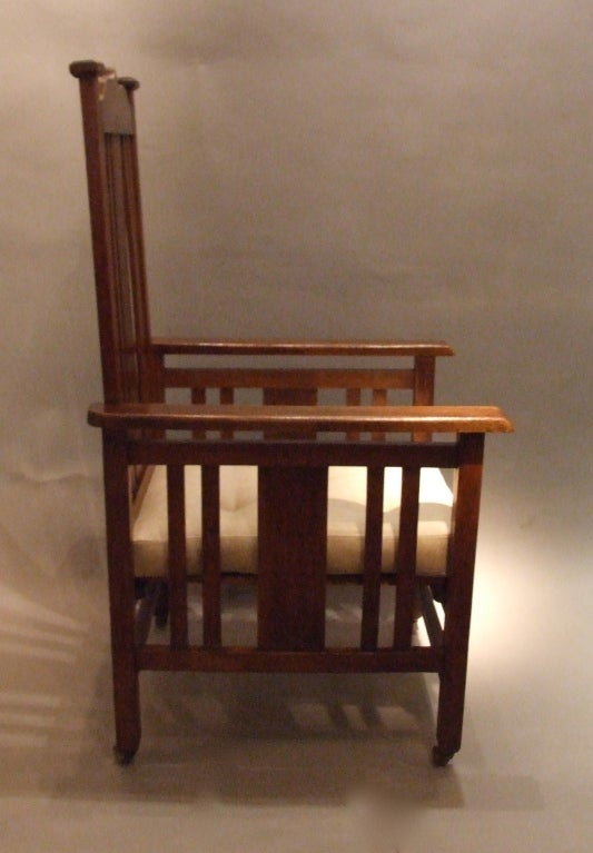 English Arts and Crafts Oak Armchair For Sale 2