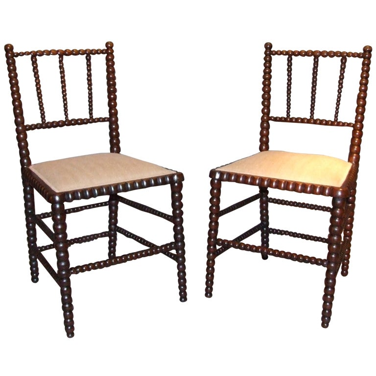 Pair of Rosewood Bobbin Turned Chairs at 1stdibs