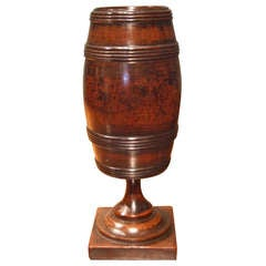 Georgian Mahogany Turned Barrel Form Box on Plinth Base
